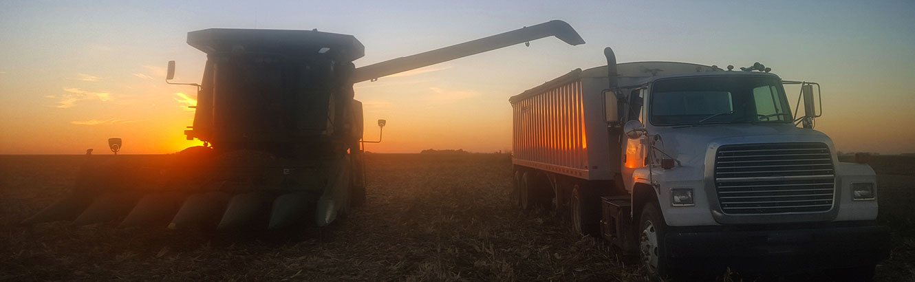 Combine loading a truck with corn at sunset.